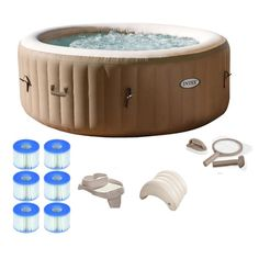 Buy Intex Pure Spa Inflatable Portable Hot Tub Ultimate Bundle Spa Package at Wish - Shopping Made Fun Best Inflatable Hot Tub, Lazy Spa, Piscina Intex, Round Hot Tub, Spa Packages, Spa Water, Water Treatment, Jacuzzi, Swimming Pools