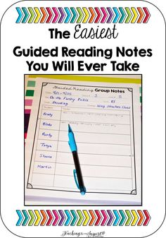 I made a new Guided Reading handout for my Guided Reading binder to keep track of my Guided Reading Notes.
