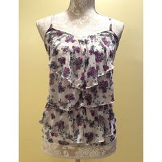 "SALE!🍂🌷Floral Ruffle Tank Top🌷 ⚜Bust: 13"" ⚜Length: 23""  🎀Condition: No Rips; Small stain on the bust area  🎀100% Polyester  🚫No Trades🚫No Holds🚫 Eyelash Couture Tops Tank Tops"