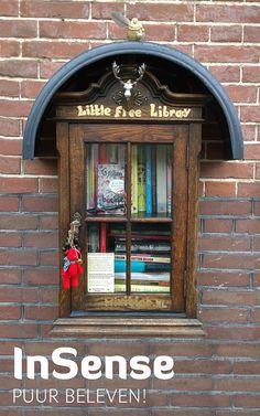 Welkom in Little Free Library!  Neem iets mee wat je aandacht trekt. Laat iets achter als je iets wil geven. Geef het boek of tijdschrift door of leg het terug als je het uit hebt. Als je er heel blij van wordt, dan hou je het boek of tijdschrift gewoon zelf. Kom nog eens terug om weer eens iets nieuws te vinden en vertel het verder.  Lezen en het delen van spullen,  woorden en herinneringen maakt de wereld een beetje mooier.  Een mooie dag. Birgitte