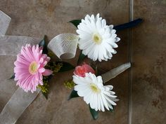 Gerber daisy boutonnieres and corsage. Eden's Echo