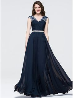A-Line/Princess V-neck Floor-Length Chiffon Prom Dress With Ruffle Beading Sequins