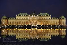 #AustriaBelvedere PalaceChristmas decorationChristmas marketViennabaroquecastlelightnightpalacepondreflectionstars #m-ltitze (December 10 2015 at 08:34PM) The Upper Belvedere in Vienna's 3rd district. The initial idea here was to errect a Gloriette pavilion like that in Schönbrunn Park in order to take advantage of the superb view over the city. Prince Eugene used it mainly for representative purposes. After his death the Imperial Gallery of Paintings was installed here in 1781. In 1919 the…