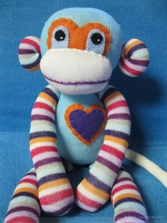 Sock Monkey : Handmade Plush Doll Toy Blue by SockMonkeySupply