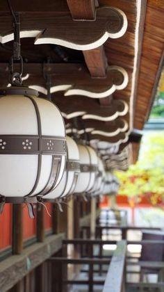 Lanterns at the Kitano Tenmangu Shrine, Kyoto, Japan
