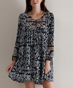 Look what I found on #zulily! Navy Geometric Peasant Tunic #zulilyfinds