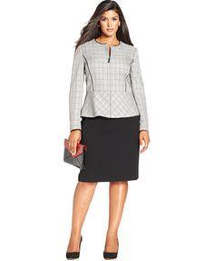 Tahari ASL Plus Size Zip-Front Plaid Jacket Skirt Suit