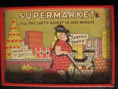 VTG ANTIQUE DEXTERITY JIGGLE PALM PUZZLE GAME TIN GLASS CARD  SUPERMARKET VGC