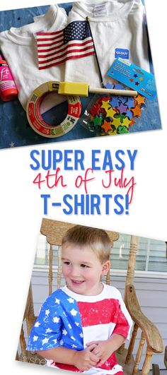 All decked out in red, white, and blue! Make a cute flag shirt with your kids.   How Does She