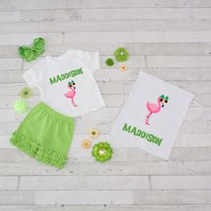 Pink Flamingo - 4pc Personalized Shirt, Short and Bag Set