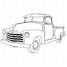 old trucks coloring | old-american-pick-up-truck- ...