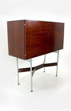 Rudolf Bernd Glatzel; Rosewood and Chromed Metal Bar Cabinet for Fristho, c1955.