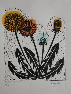 Dandelion hand printed limited edition Lino by ElizabethNewsham, £40.00