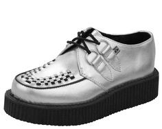 A8523 - Silver Metallic Round Toe Low Creepers | #TUK