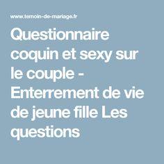 Questionnaire coquin et sexy sur le couple - Enterrement de vie de jeune fille Les questions