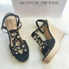 "NIB! Boston Proper Jeweled Straw Wedge Sandal. Woven wedge Sandals with jeweled accents elevate your look! Cotton/ Man-made leather. 5"" wedge/ 1"" platform. Condition: New in box. NO TRADES!! Boston Proper Shoes Wedges"