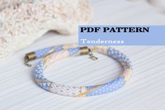 PDF Pattern for beaded crochet necklace - Seed beads crochet rope - Jewelry patterns - Geometric design - Trendy Pantone colors - Serenity by HitoriToraWorkshop on Etsy