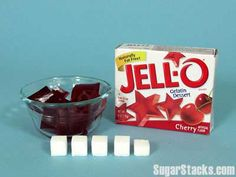 Jell-O Gelatin, Cherry  1 serving (1/2 cup/21g)  Sugars, total:19g  Calories, total:80   Calories from sugar:76