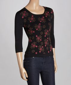 Another great find on #zulily! Black Floral Three-Quarter Sleeve Sweater by Tierre Assortment #zulilyfinds