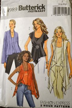Sewing Pattern Butterick 4989 Misses' Tops and Camisole Bust 38-44 inches Complete UNCUT by GoofingOffSewing on Etsy