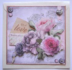 3D-Karten - 3D Karte lila Blumen inkl. Umschlag - ein Designerstück von HoFa25…