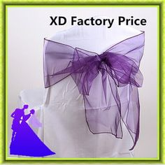 Colorful banquet organza chiar sash for chiars decoration