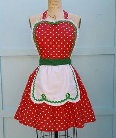 retro Christmas apron Red green Polka Dot by loverdoversclothing