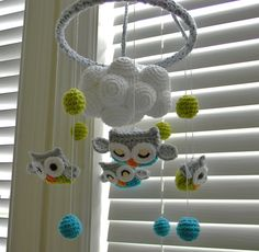 Owl crochet mobile.