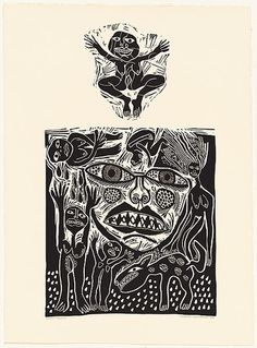 Artist: HANRAHAN, Barbara | Title: Infant joy | Date: 1988 | Technique: linocut, printed in black ink, from two blocks