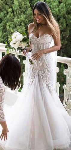 74db12f3925c Gorgeous Beading Lace Sweetheart Strapless Mermaid Wedding Dresses, AB1520