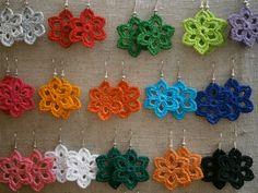 crocheted earrings, crochet earring, FREE SHIPPING. $19.00, via Etsy.