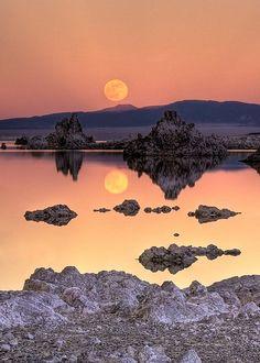 Mono Lake Full Moon Rise, California, USA, by Jeff Sullivan.