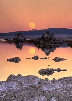Mono Lake Full Moon Rise, California,