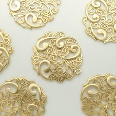 Matte Gold Filigree beads Pendants Charms Connectors by Annielov2, $1.80