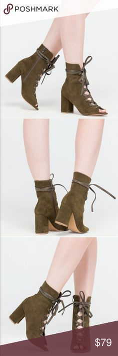 Lace up bootie Lace up bootie. Perfect for fall. Vegan suede heel. Peep toe. Vegan leather tie straps. 3.5 in chunky block heel. New in box boutique. Never worn. Ships within one week. Boutique Shoes Ankle Boots & Booties