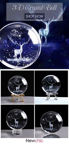 Crystal Ball 3D Laser Engraved Glass Globe Crystal Craft Home Decor Accessories Ornament.#glass #homedecor #3dcrystalball Beaded Ornament Covers, Beaded Ornaments, 3d Crystal, Crystal Ball, Ball Lights, Tea Lights, Home Decor Accessories, Decorative Accessories, Deer Antler Crafts