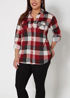 image of Plus Red Plaid Shirt