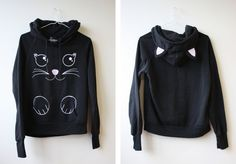 cute cat hoodie with ears / large / kids or small by mariemagie,