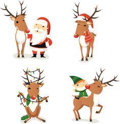 Santa Claus Reindeer Christmas Action Set