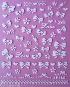 Nail-Art-Stickers-Decals-Transfers-Valentines-Love-Hearts-Bows-Lace-185