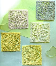 "18 coasters - wonderful site with many ideas and free patterns. Pineapples are ""my thing"". Graph"