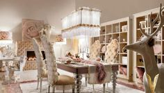 Luxurious Interiors Dining Area With Feather Decor Deer Sculpture ...