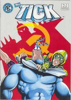 The Tick (New England Comics comic book) - 13 issues Free Comic Books, Comic Book Covers, Comic Books Art, Book Art, Comic Book Characters, Comic Character, Free Comics, Ticks, Funny Comics