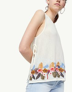 Embroidered top - Tops | Stradivarius Other Countries
