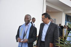 Tedros walks with Former President of South Africa, Thabo Mbeki, at the 2013 Tana Forum in Bahir Dar, Ethiopia. Former President, High Level, Ethiopia, Walks, South Africa, Presidents, Suit Jacket, Breast, Suits