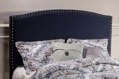1932 Kerstein Fabric Headboard - King - Headboard Frame Not Included - Navy Linen ' Fabric Headboard Queen, Queen Headboard And Frame, Navy Headboard, Full Size Headboard, Headboard And Footboard, Bed Frame, Tufted Headboards, Hillsdale Furniture, Pine Plywood