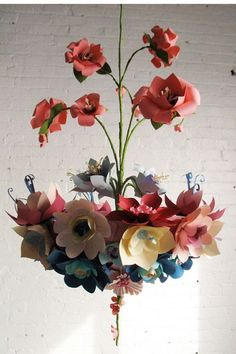 Paper Flower Chandelier by Eloise Corr Danch, a NYC-based artist