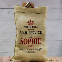 Direct from Santa s workshop these Personalised North Pole Express Hessian Christmas Sacks are ideal for sorting and containing gifts on Christmas