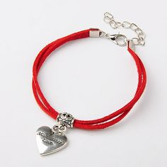 Faux Suede Cord Multi-strand Bracelets for Valentine's Day