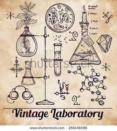 Hand drawn science beautiful vintage lab icons sketch set . Vector illustration. Back to School. Doodle, equipment. Line art aged paper. Biology, geology, alchemy, chemistry, magic. Tattoo elements.